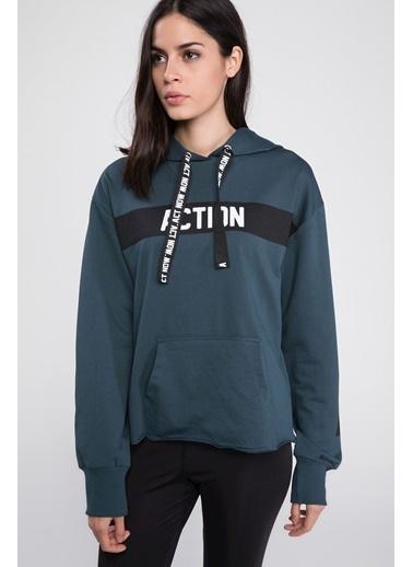 DeFacto Kapşonlu Baskılı Şerit Detaylı Sweatshirt Yeşil